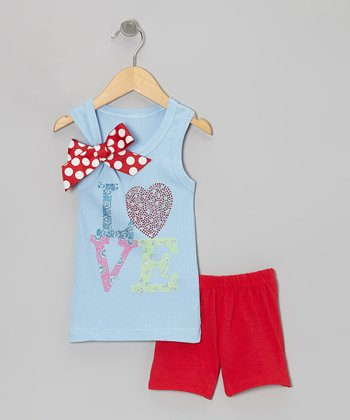 Blue 'Love' Bow Tank & Red Shorts - Toddler & Girls
