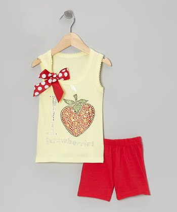 Yellow 'I Love Strawberries' Tank & Red Shorts - Toddler & Girls