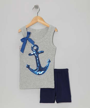 Gray Anchor Tank & Navy Shorts - Toddler & Girls