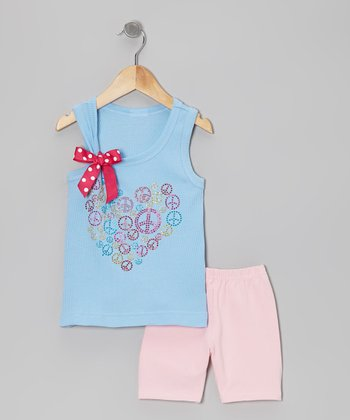 Blue Peace Tank & Pink Shorts - Toddler & Girls