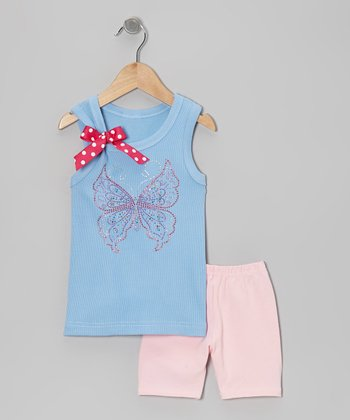 Blue Butterfly Tank & Pink Shorts - Toddler & Girls