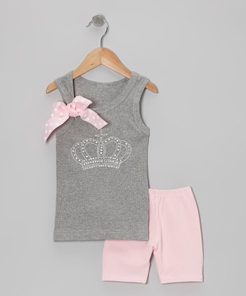 Gray Crown Tank & Pink Shorts - Toddler & Girls