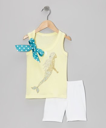 Yellow Mermaid Tank & White Shorts - Toddler & Girls