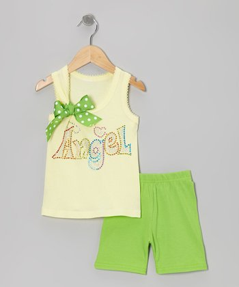Yellow 'Angel' Tank & Green Shorts - Toddler & Girls