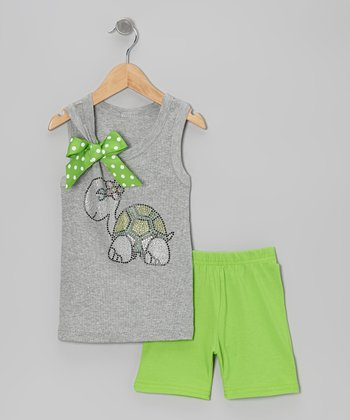Gray Turtle Tank & Green Shorts - Toddler & Girls