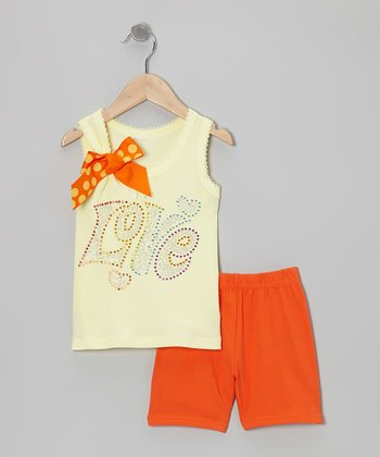 Yellow 'Love' Tank & Orange Shorts - Toddler & Girls
