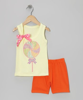 Yellow Lollipop Tank & Red Shorts - Toddler & Girls