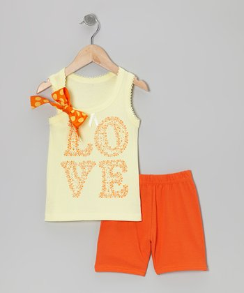 Yellow 'Love' Bow Tank & Orange Shorts - Toddler & Girls
