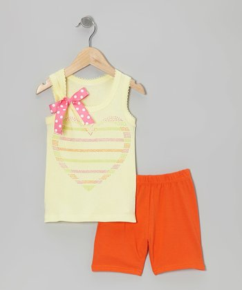 Yellow Heart Tank & Orange Shorts - Toddler & Girls