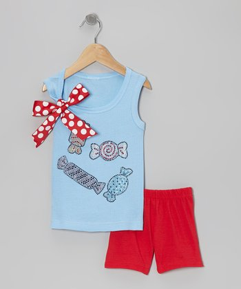 Blue Candy Tank & Red Shorts - Toddler & Girls
