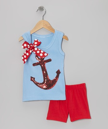 Blue Anchor Tank & Red Shorts - Toddler & Girls