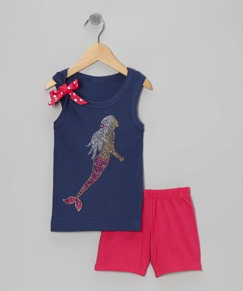 Navy Mermaid Tank & Pink Shorts - Toddler & Girls