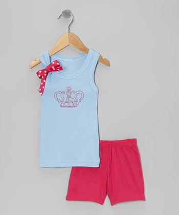 Blue Crown Tank & Pink Shorts - Toddler & Girls