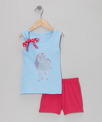 Blue Unicorn Tank & Pink Shorts - Toddler & Girls