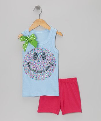 Blue Smiley Face Tank & Pink Shorts - Toddler & Girls