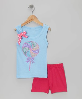 Blue Lollipop & Pink Shorts - Toddler & Girls