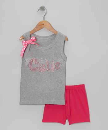 Gray 'Cutie' Tank & Pink Shorts - Toddler & Girls