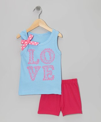 Blue 'Love' Bow Tank & Pink Shorts - Toddler & Girls