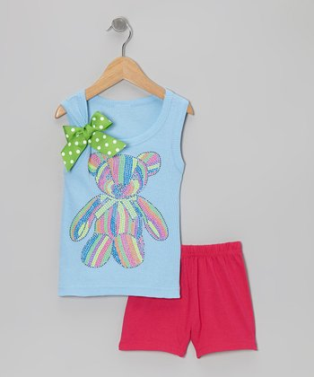 Blue Teddy Bear Tank & Pink Shorts - Toddler & Girls