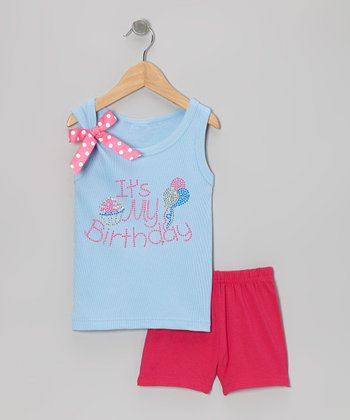 Blue 'It's My Birthday' Tank & Pink Shorts - Toddler & Girls