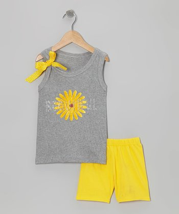 Gray 'Beautiful' Tank & Yellow Shorts - Toddler & Girls