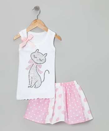 White Kitty Tank & Pink Polka Dot Skirt - Toddler & Girls