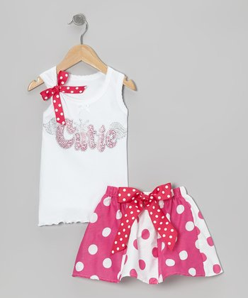 White 'Cutie' Tank & Pink Polka Dot Skirt - Toddler & Girls