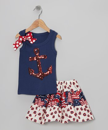 Navy Anchor Tank & White Flag Skirt - Toddler & Girls
