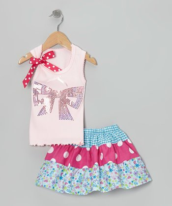 Pink Bow Tank & Blue Tiered Skirt - Toddler & Girls