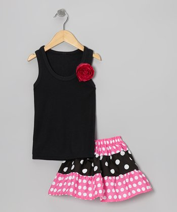 Black Rose Tank & Pink Tiered Skirt - Toddler & Girls