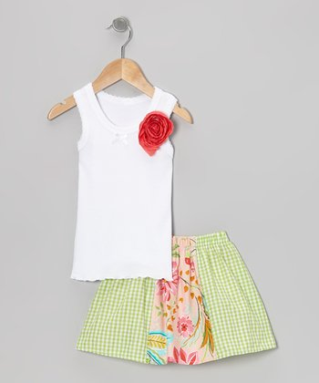 White Rose Tank & Green French Flower Skirt - Toddler & Girls