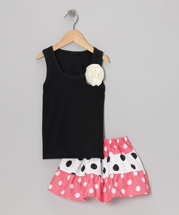 Black Rose Tank & Pink Polka Dot Skirt - Toddler & Girls
