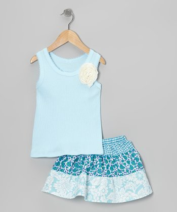 Blue Rose Tank & Floral Skirt - Toddler & Girls