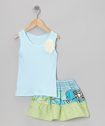 Blue Rose Tank & Green Floral Skirt - Toddler & Girls