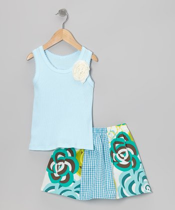 Blue Rose Tank & Mums Skirt - Toddler & Girls