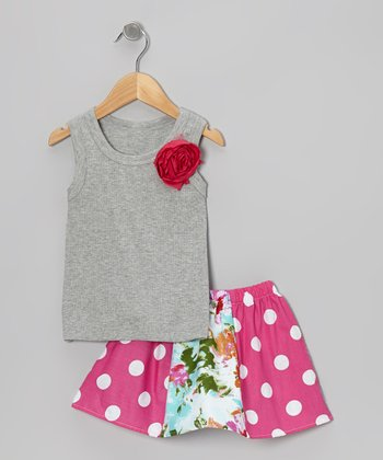 Gray Rose Tank & Pink Floral Skirt - Toddler & Girls