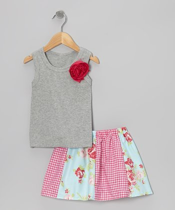 Gray Rose Tank & Pink Rose Skirt - Toddler & Girls