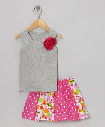 Gray Rose Tank & Pink Dots Skirt - Toddler & Girls