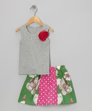 Gray Rose Tank & Green Floral Skirt - Toddler & Girls