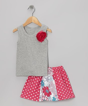 Gray Rose Tank & Pink Daisy Skirt - Toddler & Girls