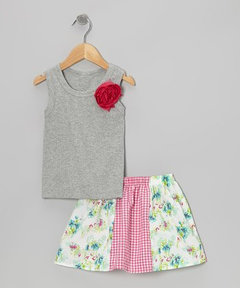 Gray Rose Tank & White Daisy Skirt - Toddler & Girls