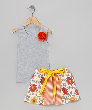 Gray Rose Tank & Orange Daisy Skirt - Toddler & Girls