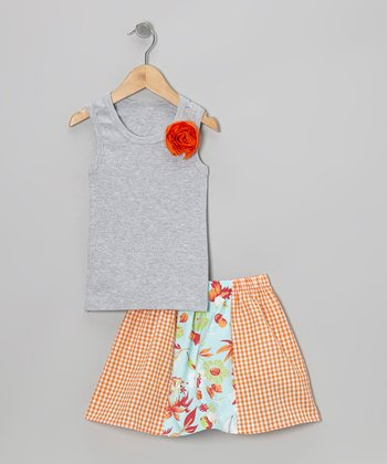Gray Rose Tank & Blue Hawaiian Skirt - Toddler & Girls