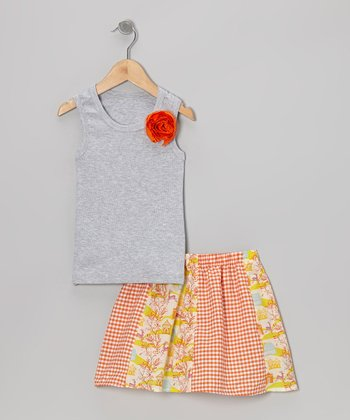 Gray Rose Tank & Orange Deer Skirt - Toddler & Girls