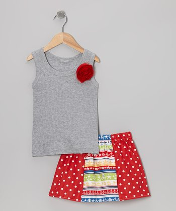 Gray Rose Tank & Red Nautical Skirt - Toddler & Girls
