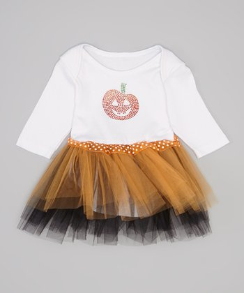 White & Orange Skirted Bodysuit - Infant