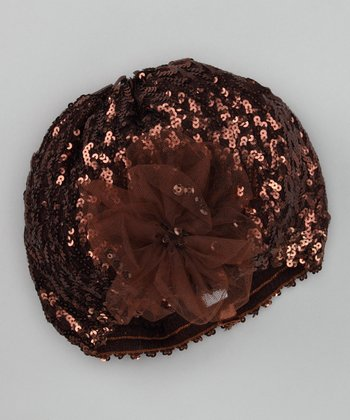 Brown Sequin Flower Beret