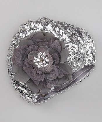 Silver Sequin Flower Beret