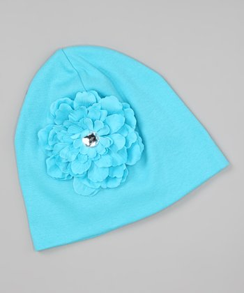 Turquoise Jeweled Flower Beanie