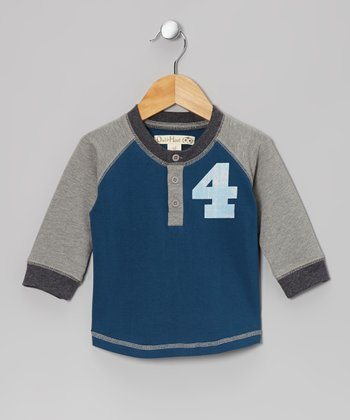 Dark Teal & Medium Gray Baseball Raglan Tee - Toddler & Kids